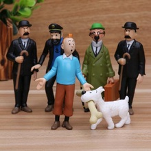 6pc/set Cartoon The Adventures of Tintin Pvc Action Figure Toy Anime Juguetes Display Collection Gift