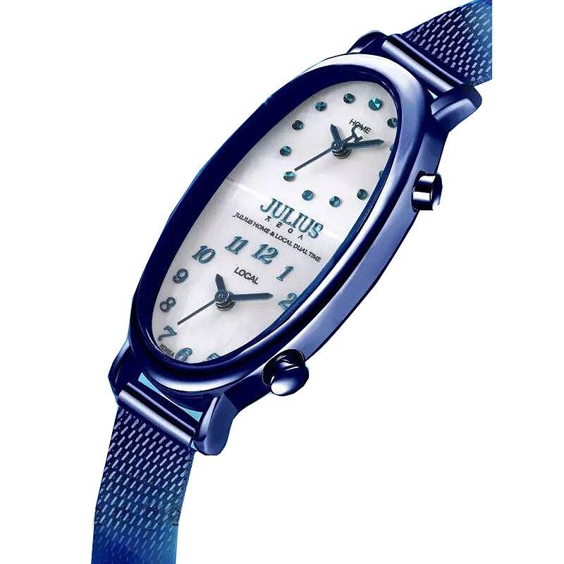 Double fuseau horaire Shell Gemini montre pour femme japon Quartz heures Fine mode robe Bracelet en acier fille cadeau d'anniversaire boîte Julius-in Montres à quartz from Montres    2