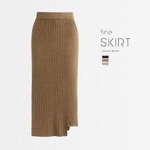 1pcs Hight waist Women Pleated knit skirts 2019 Autumn Knitted cotton Splicing Irregular Long skirt Ladies Skinny