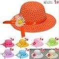 2014 new children's cap fashion children autumn straw sunflower sun hat colors 50cm