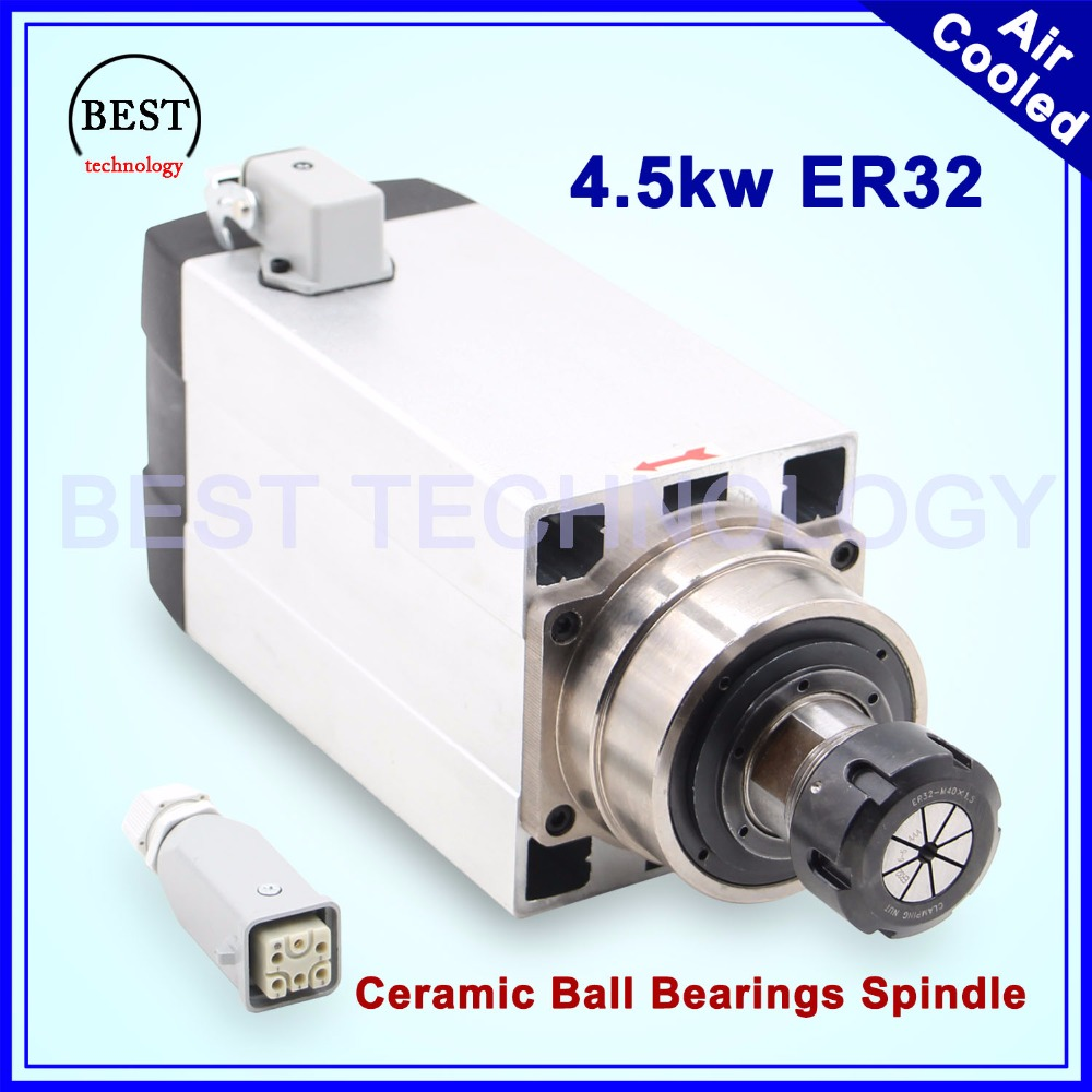 New Arrival! 4.5kw ER32 air cooled spindle motor 220v/380v square spindle Ceramic ball bearings spindle 0.01mm accuracy