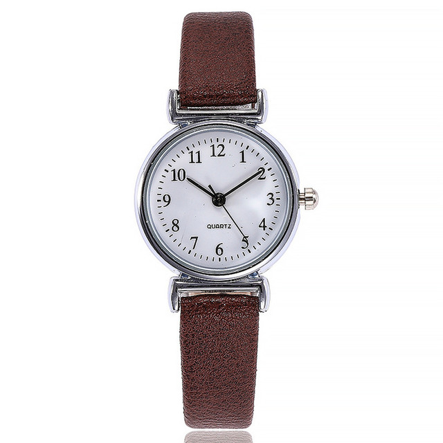 Small Dial Leather Band Analog Movement Wrist Watch 4