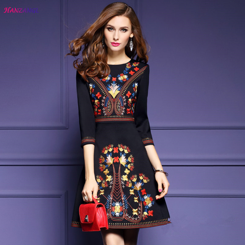HANZANGL marque femmes élégant Vintage fleur Floral broderie robe tunique fête Occasion spéciale robes patineuse a-ligne robe