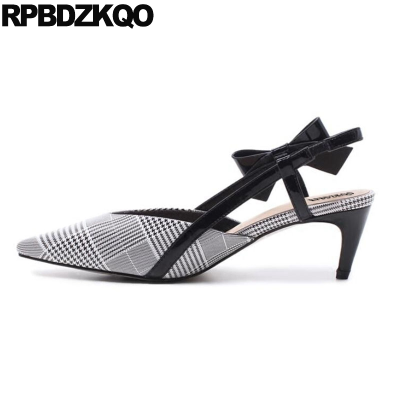 Strap Pumps Sandals High Heels Slingback Stiletto Cute Bow Pointed Toe Quality Luxury Brand Shoes Women Genuine Leather Plaid women office shoes solid color fashion pointed toe stiletto high heels elastic band ankle strap slingback sandals pumps leather