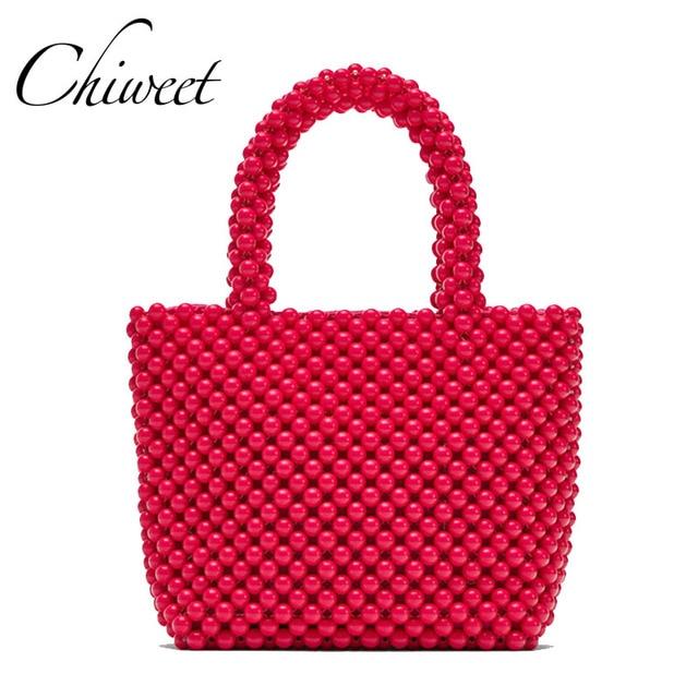 fd0780234b Luxury Women Bag Acrylic Pearl Tote Top-Handle Bucket Bag Brand Handmade  Beaded Designer Handbags Ladies Party Evening Bags Girl