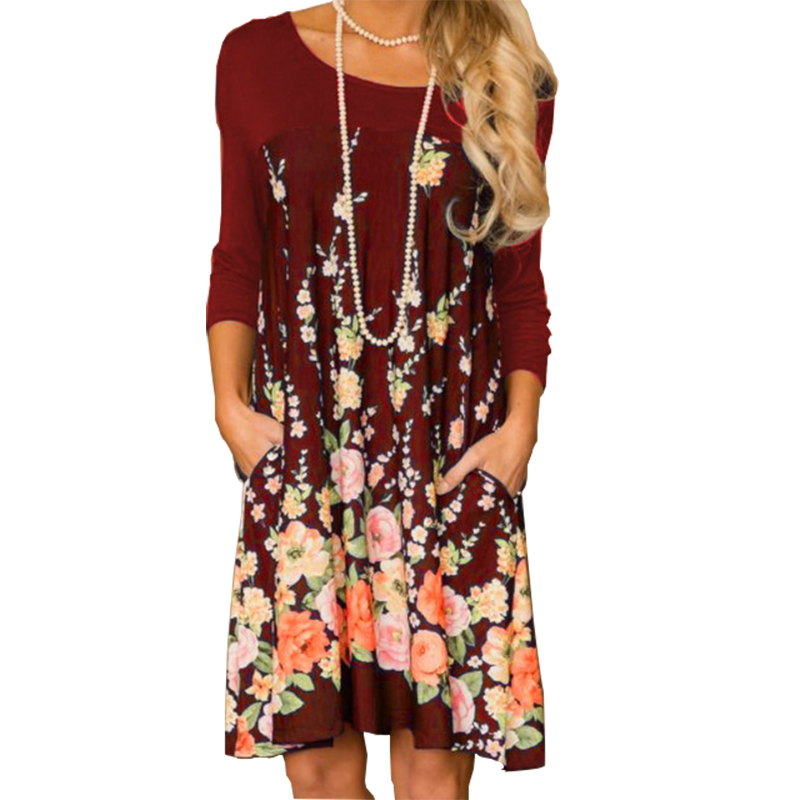 Bohemian Dress 2018 Women Autumn Dresses O-neck Long Sleeve Printed Sexy Loose Winter Pocket Dresses Plus Size GV267