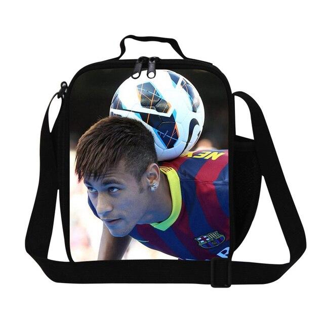 Personalizada Neymar bolsas de almuerzo para boys school, aislamiento de contenedores almuerzo para adolescentes, de moda del bolso con la botella titular, bolsas de comida