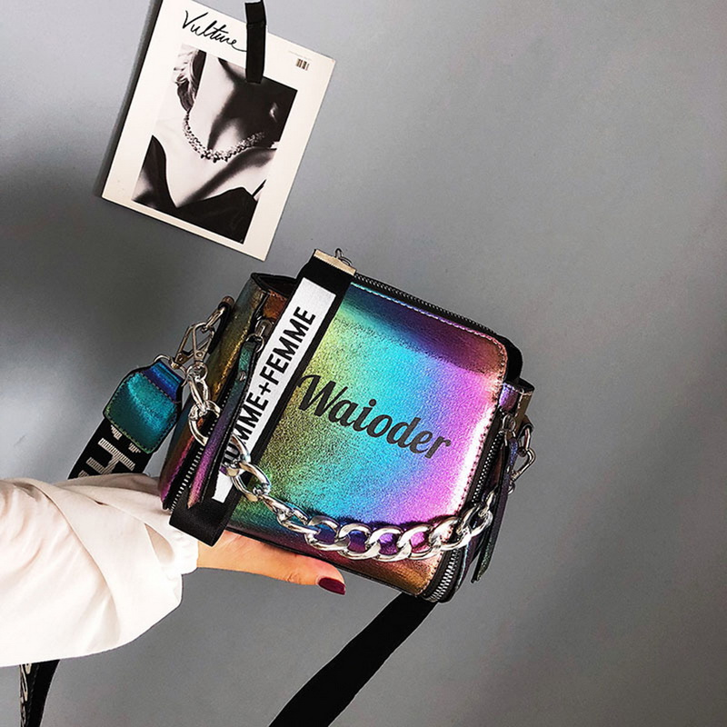 Fashion Laser Women Bags Luxury Shoulder Handbags Chains Crossbody Bag Women 2018 Letter Mini Flap Purse bolsa feminina