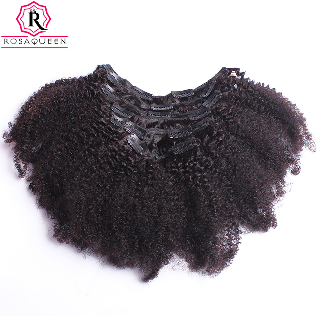 Afro Kinky Curly Clip In Human Hair Extensions 4B 4C African American Human Natural Hair Clip Ins Rosa Queen Remy