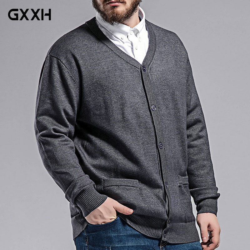 Men's Knit Cardigan Autumn New Large Size Sweater Men's Fat Loose V-neck Sweater Color: Gray / Navy / Wine Red Size 3XL-7XL