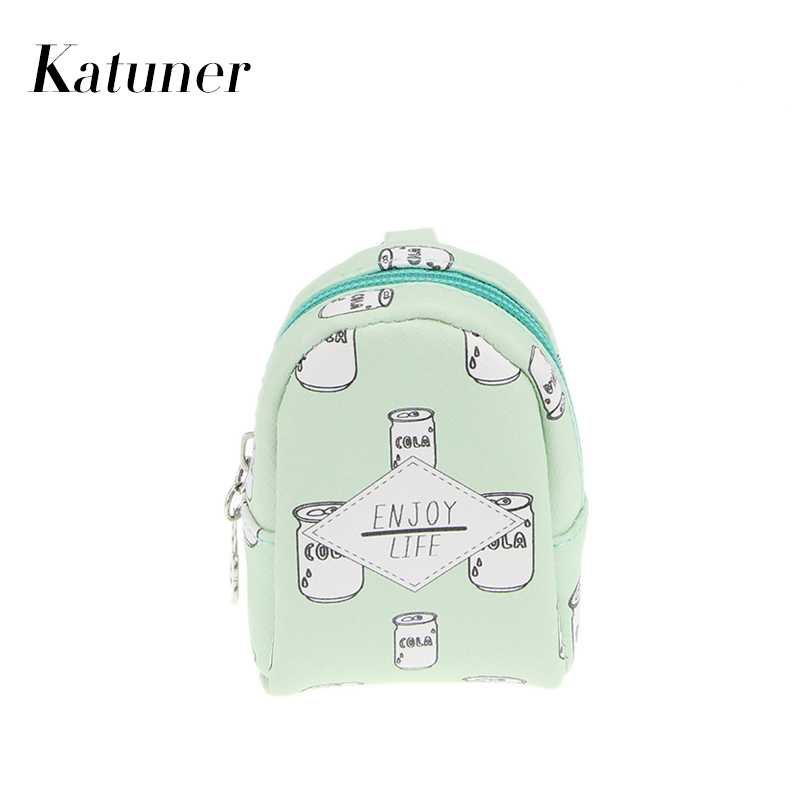 Katuner Candy Color Print Keychain Coin Purse Women Wallet Kids Children Coin Bag Girls Purses Porte Monnaie KB020