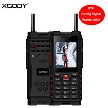 Купить XGODY IP68 ударопрочный телефон рации 2,4 «сильный фонарик сигнала громкоговоритель T2 GSM 4500 мАч Celular мобильный телефон русский