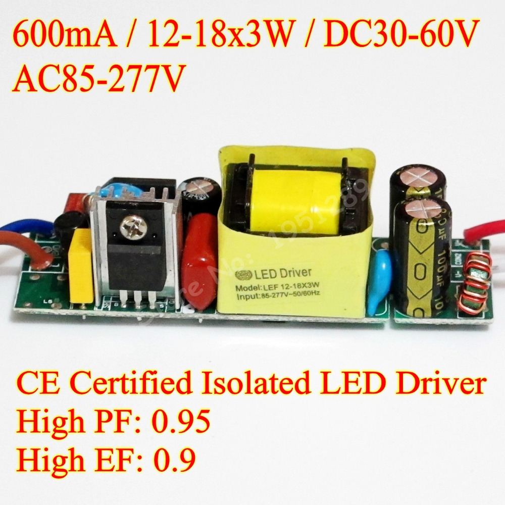 CE Certified Isolated 600mA 12-18x3W DC 30V - 60V Led Driver 12x3W 15x3W 16x3W 18x3W Power Supply AC 110V 277V for LED lights