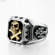 DoreenBeads Pirate Skull Ring For Men Stainless Steel Jewelry Fashion Punk Classic Vintage Men's Rock Square Skeleton Rings