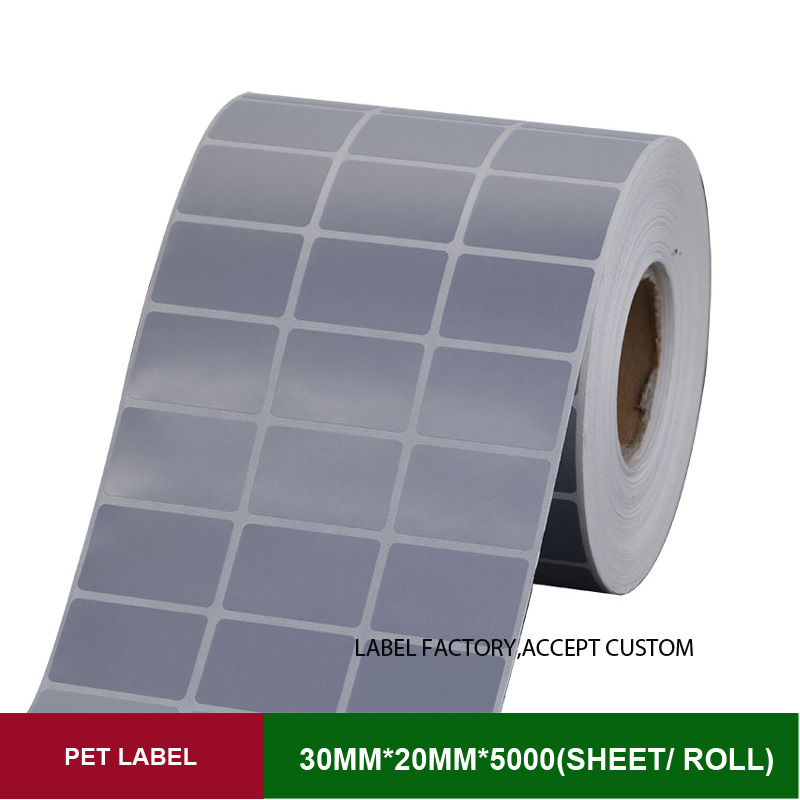 PET Thermal transfer Scratch-resistant sticker labels paper 30*20mm 5000pcs papel adhesivos technical bar code for mark