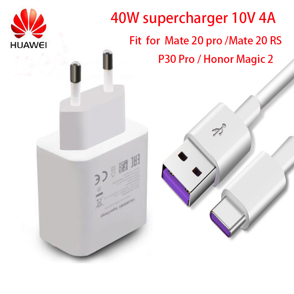 Original FOR HUAWEI Super Charge 40W Quick Charger 10V/4A 9V/2A 5V/2A P30 Pro Mate 20 Pro X RS Mate10 P20 P10 Mate10 Magic 2