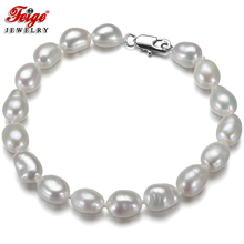 Feige New special offer Baroque style 7-8MM White Natural Freshwater Pearl Strand Bracelet for Womens Jewelry Pulseras