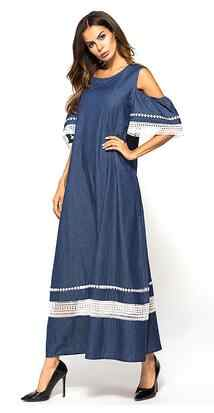 ladies Denim Dress Blue cold shoulder Lace hollow out patchwork design A line long dress summer 2019 women maxi dresses DV639