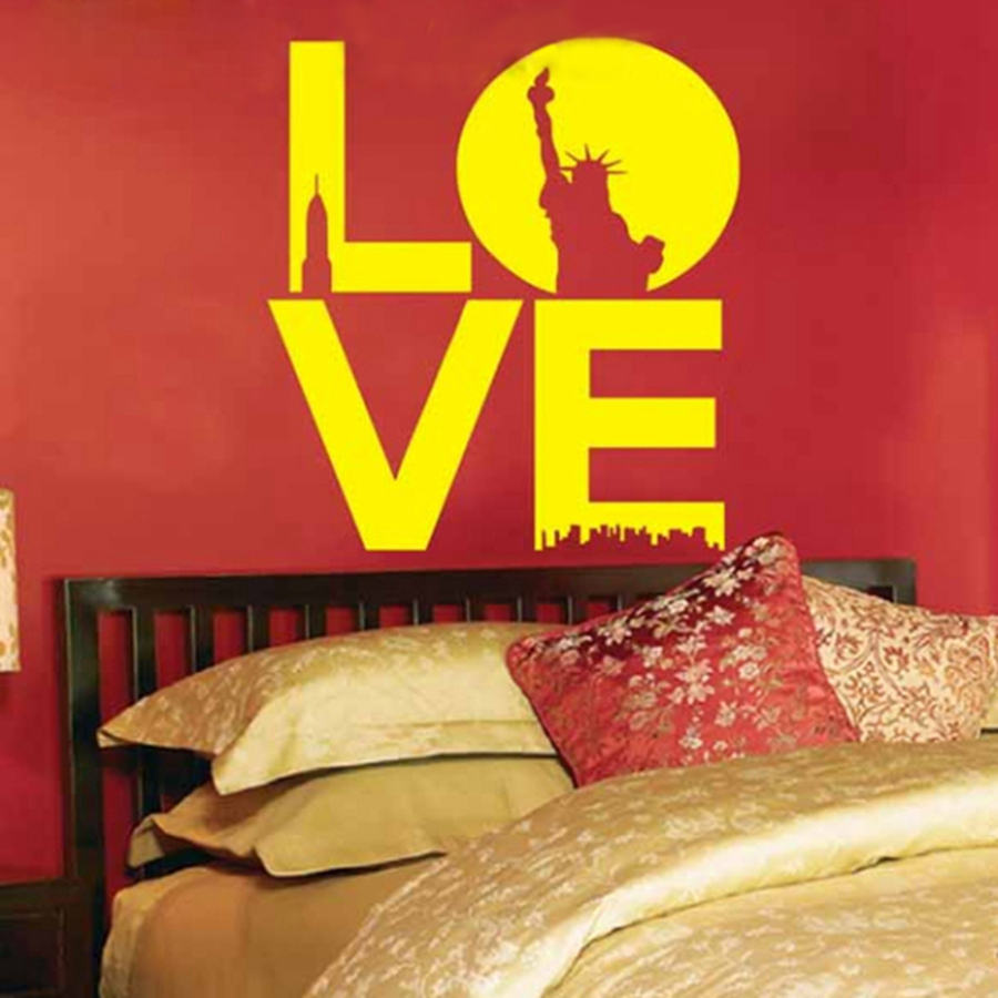 Wall decor Sticker Letters Love With Statue Of Liberty Sticker Mural ...
