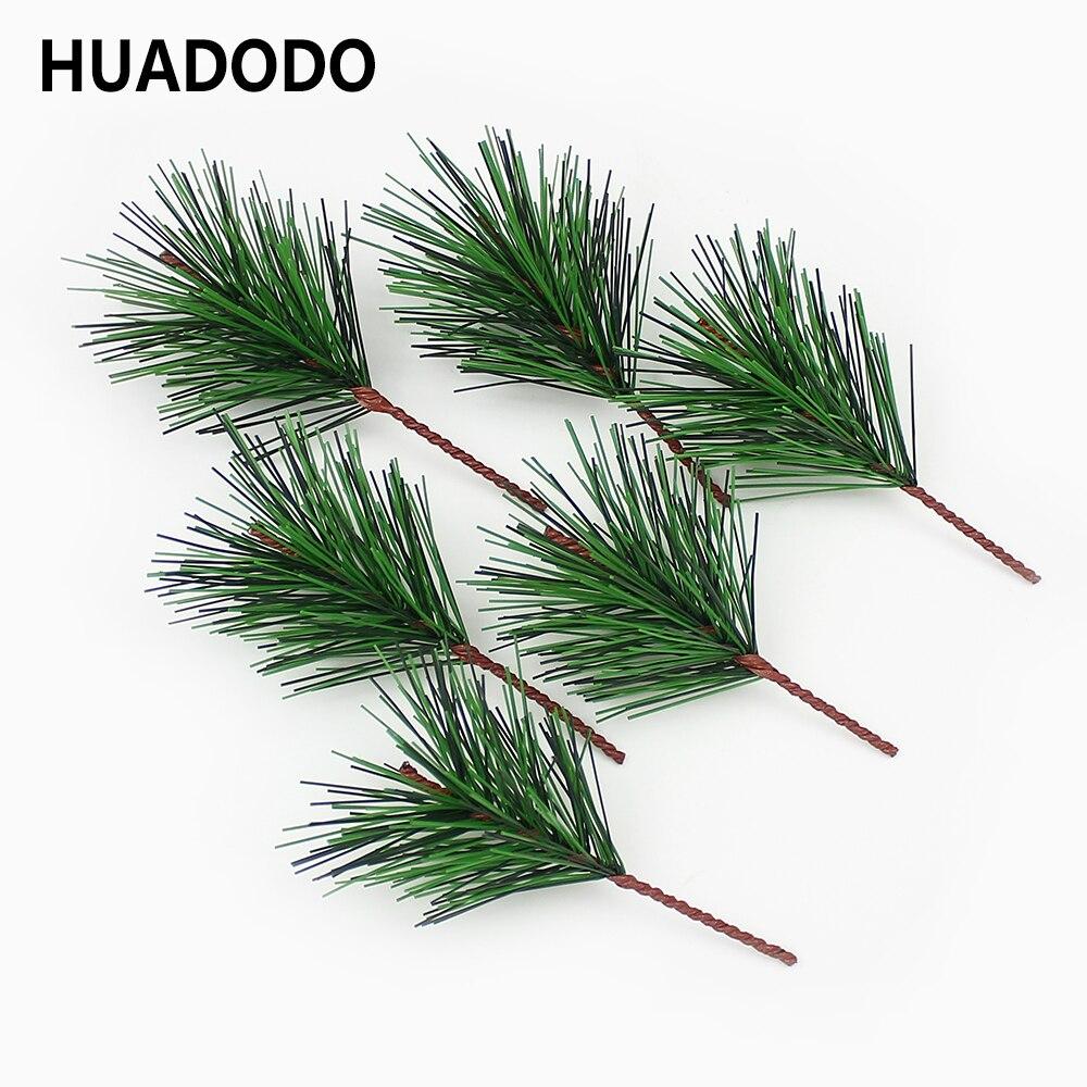 HUADODO 10 шт. зеленый искусственный сосны Вышивка крестом иглы искусственные листья цветы для ручной работы DIY Рождество дома аксессуары