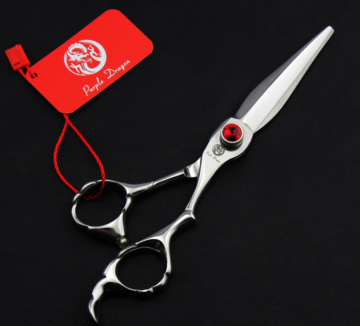 Silver 6.0'' 17.5CM Barber Flat Hair Gem Scissors Stainless Steel Hair Scissor Hairdresser Shear Clipper DIY G056