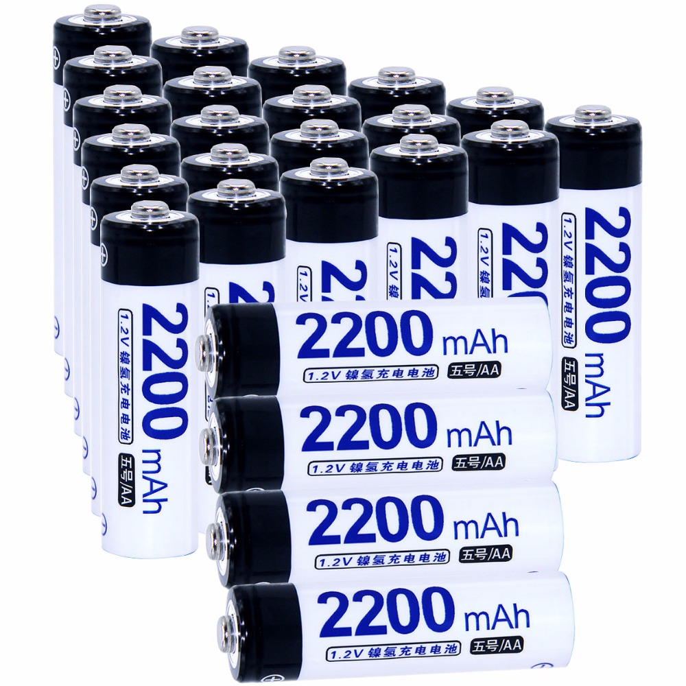 True capacity! 25 pcs AA portable 1.2V NIMH AA rechargeable batteries 2200mah for camera razor toy remote control flashlight 2A
