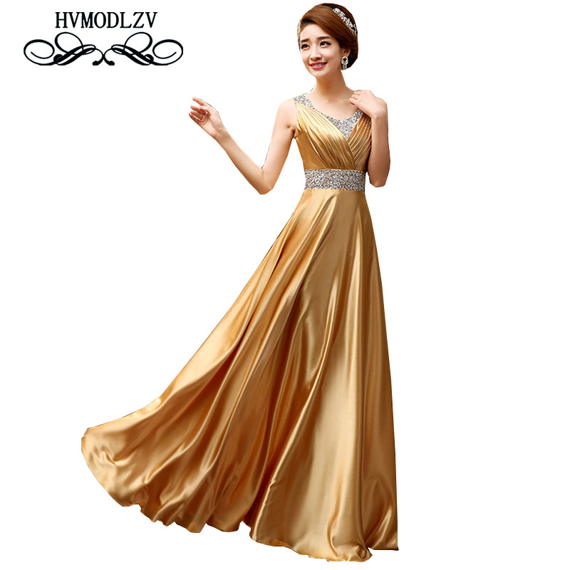 2017 New Women Gorgeous Host Dress Elegant Gold noble Banquet Dress Long Paragraph V Collar Fashion dresses Vestidos ls178 ...