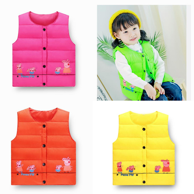 d5aef14907f2 New Fashion Baby Boys and Girls Down Jackets Vest Cartoon Style Bebe ...