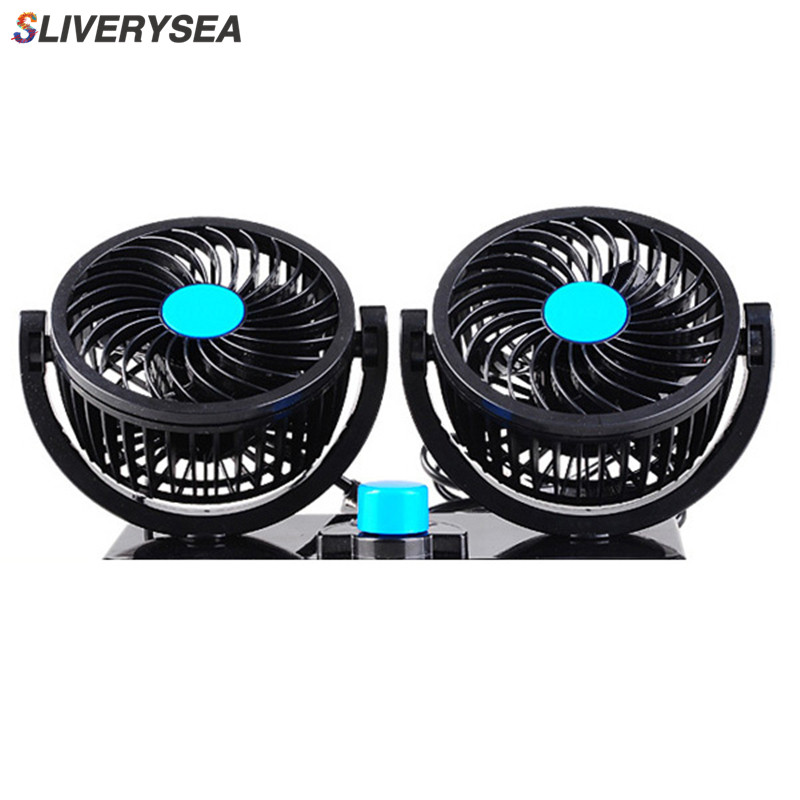 Car Fan 24V 360 Degree Rotatable Dual Head 2 Speed Quiet Strong Dashboard Auto Cooling Air Fan for SUV RV Boat Auto Vehicles