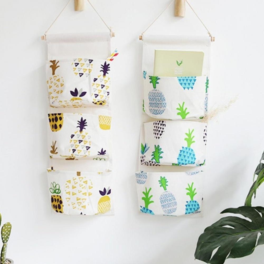 Pouch Organizer Storage-Bag Closet Hanging 3-Pocket Wall 55cm-X-23cm Pineapple-Door Cactus