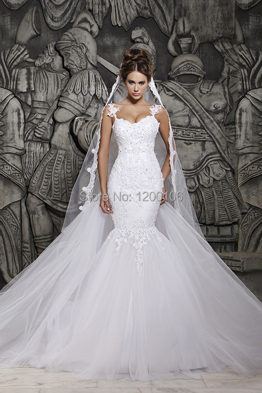 Sirena del vestido de boda Backless sin tirantes opacidad vestidos novia Sexy ár