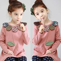 Free shipping!New 2015 Spring and autumn child clothes,baby girls t-shirt,Casual,Flower, girls Long sleeve tees.girl clothing