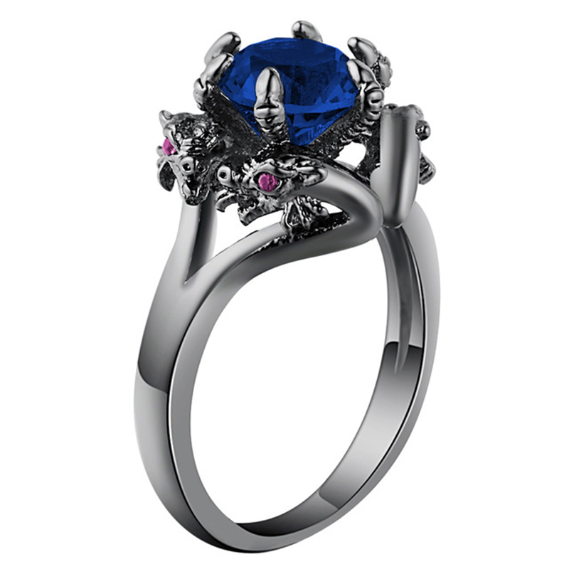 Vintage Cubic Zirconia Black Dragon Rings Jewelry Antique Silver Color Retro Women Men Claw Rings For Party Bijoux Aneis