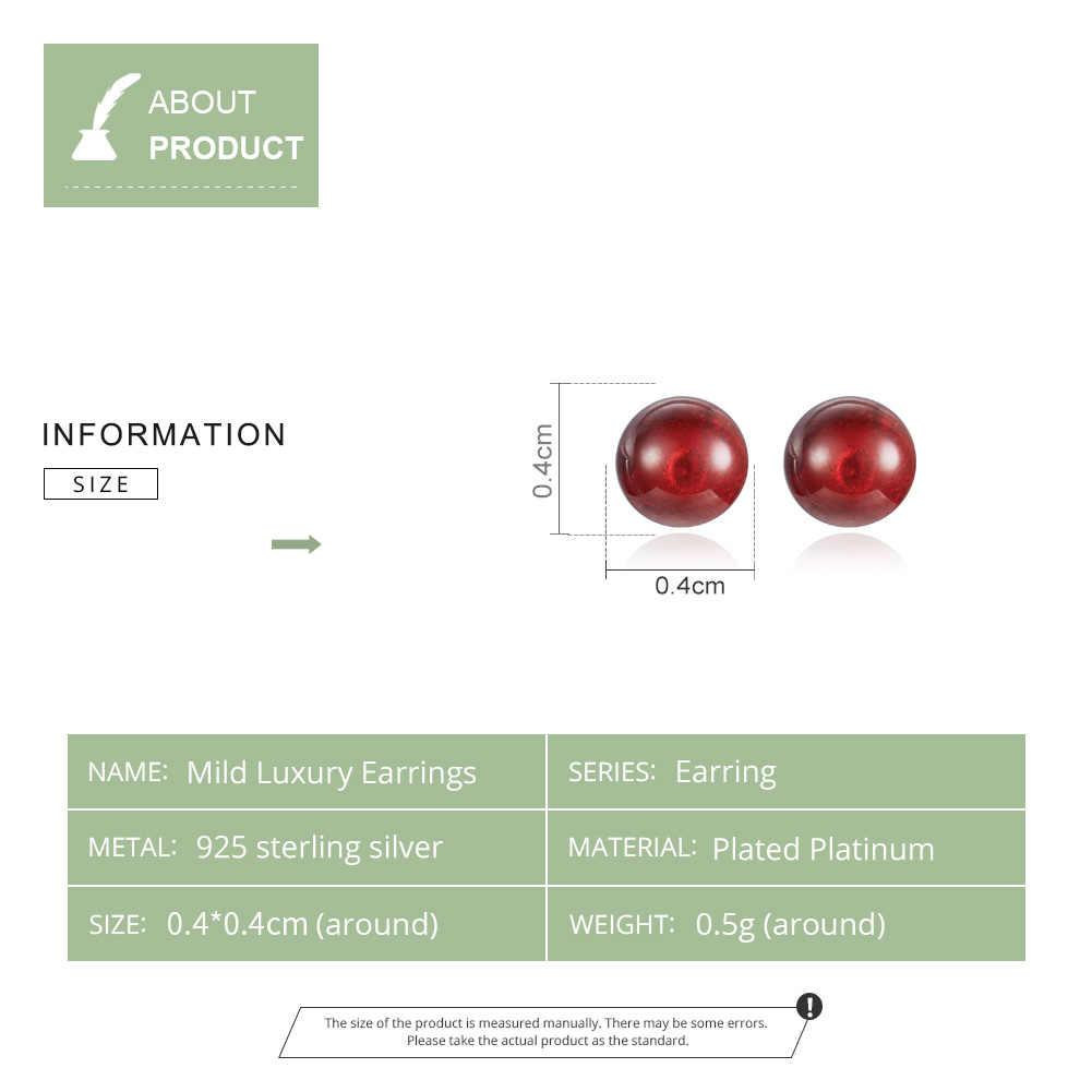 BAMOER MẠ Bạc 925 Đá Garnet Đỏ Hạt Bóng Bông tai Nữ Đá Tự Nhiên Mỹ Trang Sức Quà Tặng GXE657
