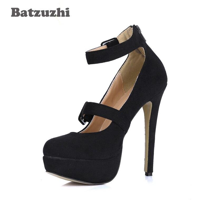 Batzuzhi Partie Sangle De En 40 Chaussures Mariage Cm Femmes Pompes Sexy Suède Cheville Gladiate forme Cuir Noir Talons Haute 14 Et Plate r0SqrFR