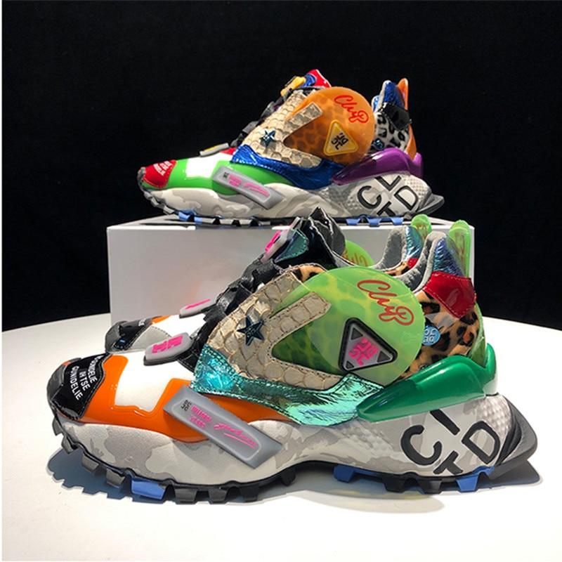 MStacchi zapatillas de deporte Graffiti estampado de leopardo zapatillas de plataforma de zapatos de mujer de la calle grueso de cuero genuino Fondo papá zapatillas de deporte-in Zapatos vulcanizados de mujer from zapatos    3