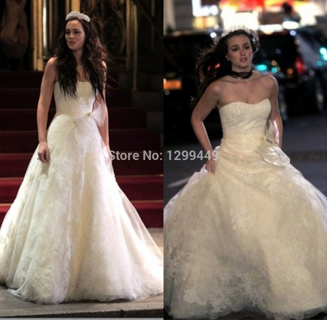 2df9a7566fc0 2015 Popular Leighton Meester (Blair) Gossip Girl Royal Wedding Dress  Custom Made Bridal Party Gown Long vestido de renda