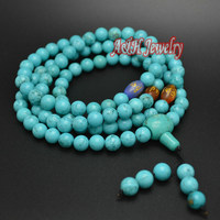 Natural Blue Turquoise 8mm 108 Beads Prayer Mala Necklace 36 Inch Tibetan Jewelry Six Words Mantra