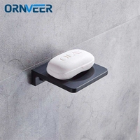 Space Aluminum Black Soap Dish Wall Mounted Bathroom Accessories Product Soap Dish Holder
