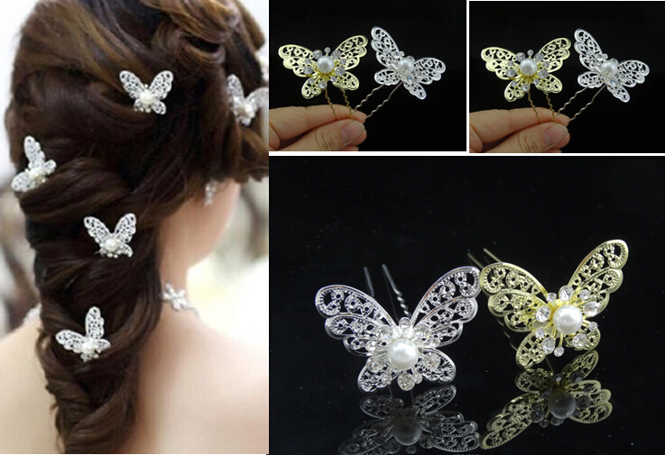 Feelgood 120pcs/lot Romantic Wedding Imitation Pearl Hair Jewelry Silver & Gold Color Crystal Butterfly Bride Hairpins wholesale