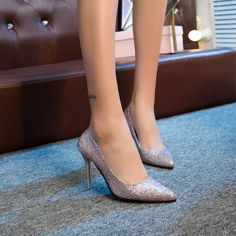 Women Wedding Shoes Silver Gold Dress Shoes Pointed Toe Thin Heels Woman Sequined Cloth High heels Glitter Pumps Boat Shoes 5
