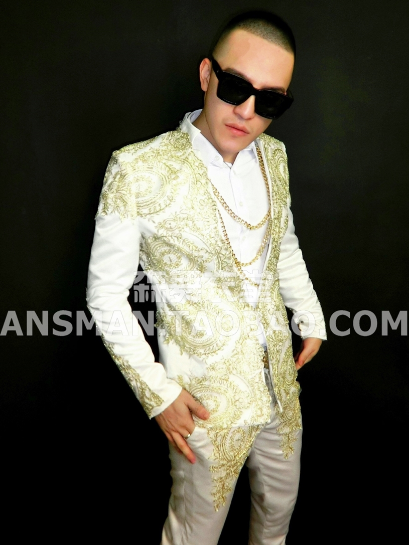 New high quality Male DJ GD baroque style embroidery white suit costumes suit for singer dancer in nightclub stars