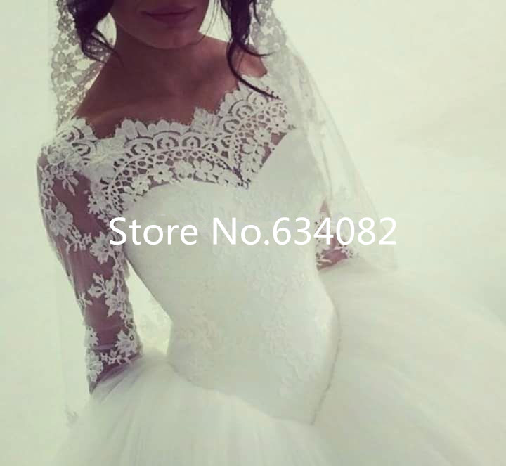 Boat Neck Long Lace Sleeves Princess 2018 New Vestido De Noiva Ball Gown Bridal Romantic Casamento Mother Of The Bride Dresses