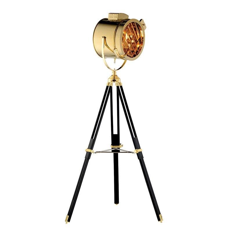Nordic American Creative Studio Retro Silver Golden Floor Lights Tripod Floor Lamps Room Standing Light