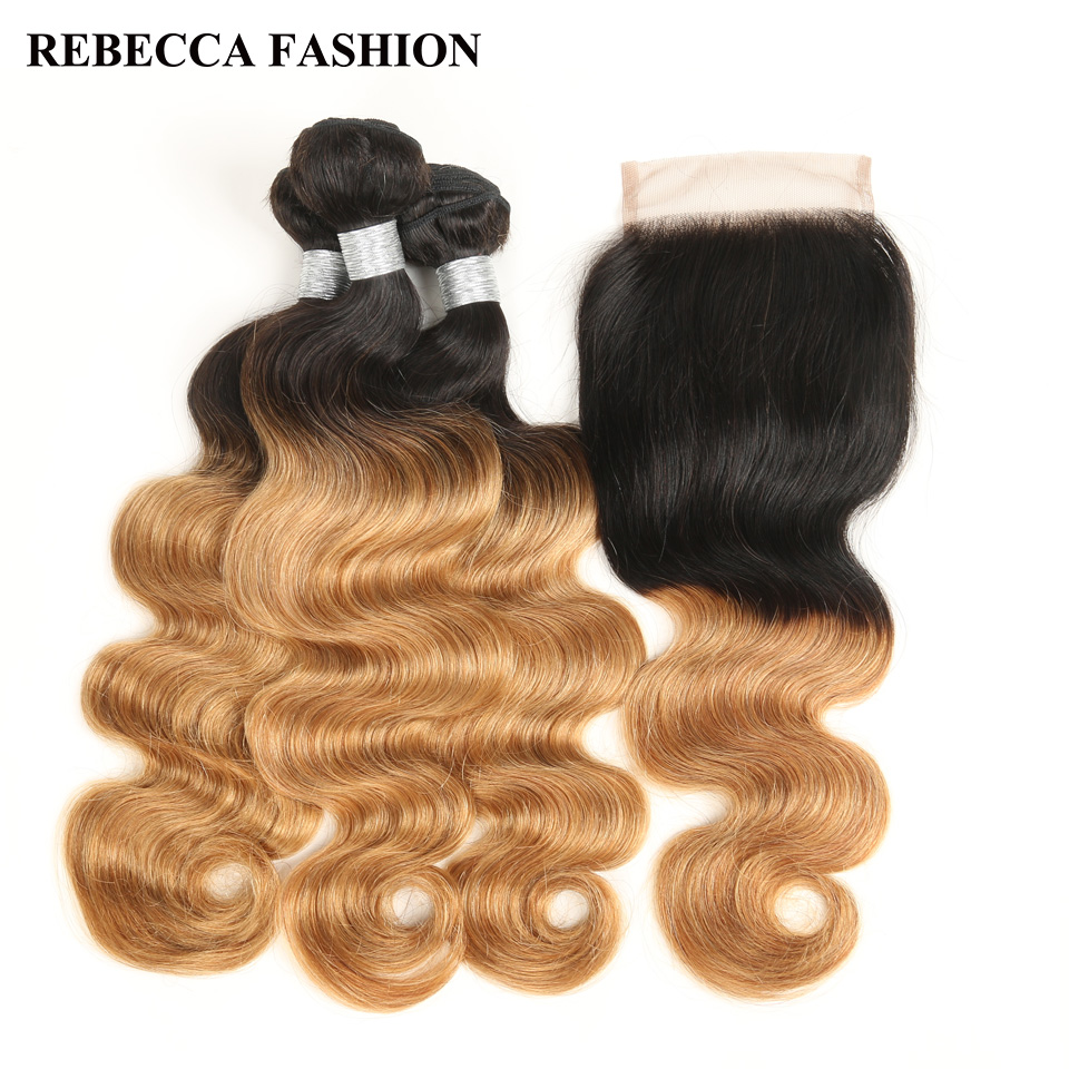 Rebecca Remy Malaysian Ombre Body Wave 3 Bundles With Closure Strawberry Blonde 1B 27 Human Hair Weave Bundles 4×4 Lace Closure