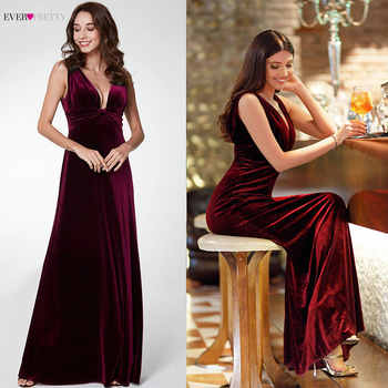 Elegant New Year Velvet Long Evening Dresses Ever Pretty EP07182 Sexy Double V Neck Christmas Evening Dresses 2019 Formal Gowns - DISCOUNT ITEM  50% OFF All Category