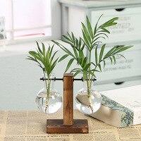 Vintage Pot De Fleurs Transparent Vase Cadre En Bois Table En Verre Plantes Décoration 2