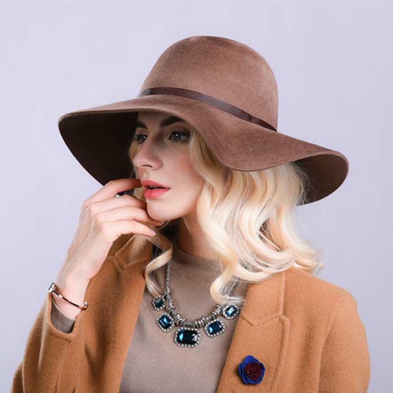e60156831d1 Fibonacci High Quality Women Wool Brushed Felt Fedora Hat 10cm Big Brim  Solid Color Elegant Dome Fedoras-in Fedoras from Apparel Accessories on ...