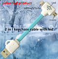 2 in 1 led usb cable with keychain Charging & data sync Applicable to fone de ouvido usb female charger riphone 5 c oem thl 5000