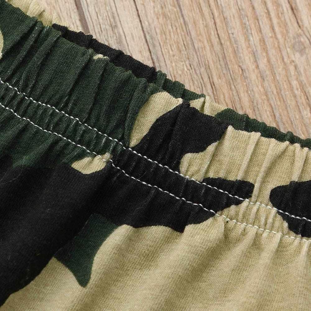 יילוד פעוט תינוק ילד קיץ בגדי מכנסיים מכנסיים מכתב הסוואה הדפסת חולצה חולצות + מכנסיים תלבושות בגדי סט Dropshipping